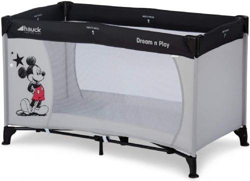NEW HAUCK DISNEY MICKEY MOUSE STARS GREY DREAM N PLAY TRAVEL COT PLAYPEN